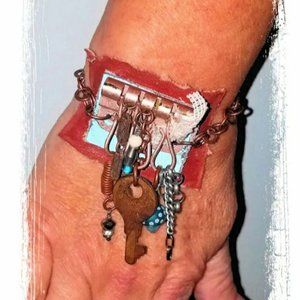 Rustic Leather Key Charm Bracelet Lampwork Bead